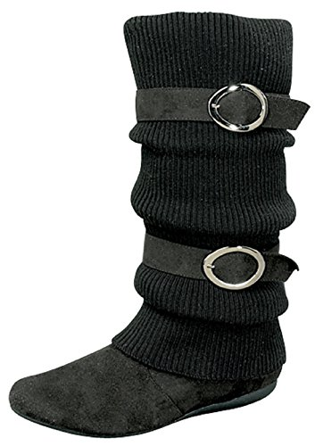 Top Moda Sweater Slouchy Buckle Top Calf Wedge Boot Bank-21 Black (9) Sweater Wedge Boot