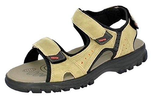 Herren Outdoor-Sandalen mit 3-Fach Klettverschluss bequeme Sandaletten für Freizeit und Urlaub, leichtes Eigengewicht, Farbe beige