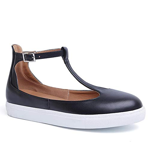 VANDIMI Mary Janes Flats Shoes T Strap Sneakers for Women Comfortable Round Toe Loafers Vintage Buckle Leather Casual Shoes]()
