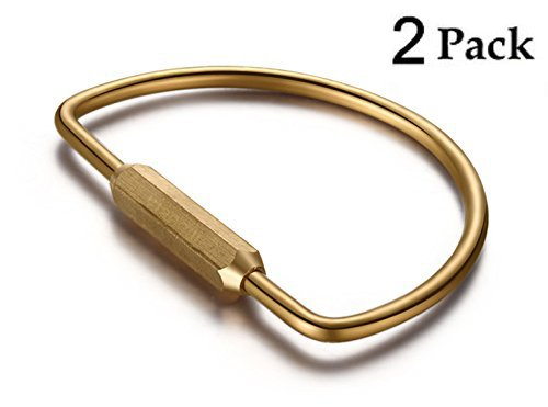 - CevineeTM 2PC Durable Brass Screw Lock Key Chain Ring, Creative EDC Kits Hanging Ring - D Shape