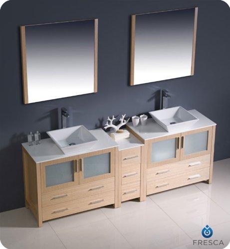 "Fresca Bath FVN62-361236LO-VSL Torino 84"" Double Sink Vanity with Side Cabinet and Sinks, Light Oak - Dimensions of Vanity: 83.5""W x 18.13""D x 35.63""H Dimensions of Mirror (x2): 31.5""W x 31.5""H x 1.25""D Materials: Plywood with Veneer, Ceramic Sinks - bathroom-vanities, bathroom-fixtures-hardware, bathroom - 41H2r3hr5LL -"