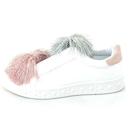 Bassa Colorate Pon Con Glamour Scarpe Pelle Donna Femminili Applicazioni Sneakers Simil Liscio Fondo Bianco EpvR4vf8q