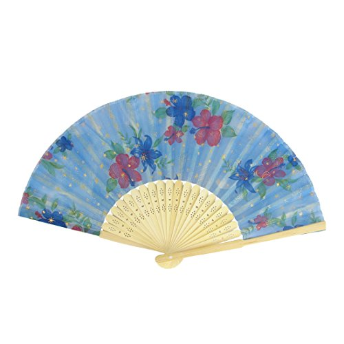 uxcell Japanese Style Hollow Ribs Flower Printed Handheld Folding Fan Blue