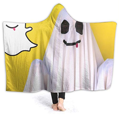 YongColer Hoodie Blanket for Adults Men Women, Keep Warm Extra Soft Throw Blanket for Bed Couch Chair Living Room, Funny Ghost Yellow Oversized Wearable Throw Home Blankets (Ghost Yellow Chair)