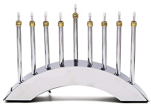 Electric Menorah Hanukkah Contemporary Menora Highly Polished Chrome Low-Voltage Electric Chanuka Menora ()