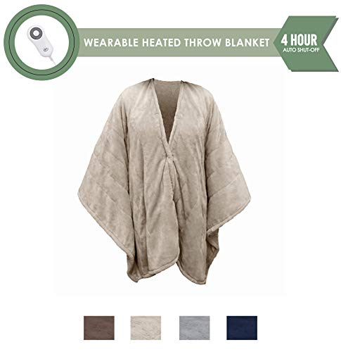 Perfect Fit Serta Heated Snuggler Wrap Throw-with 5 Setting