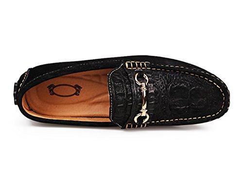 SK Studio Hombre Mocasines de Cuero Loafers Calzado Suave Zapatos de Conducción Con Textura Del Cocodrilo Negro