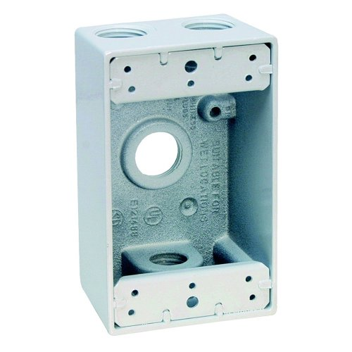 Sigma Electric 14251WH 1/2-Inch 4 Hole 1-Gang Box, (1g Gang Weatherproof Box)
