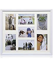 "ARPAN Multi Aperture Photo Collage Frame for 7 Photos 3 x 6"" x 4"" and 4 x 4"" X 6"" Photos Black or Brown"