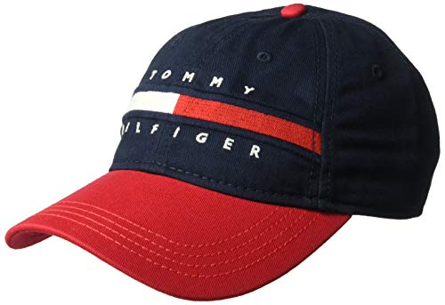 Tommy Hilfiger Men's Dad Hat Avery, Navy Blazer/Racing red, O/S