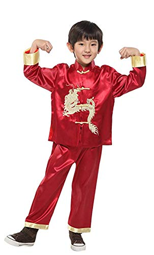 Shirt Dragon Silk (Suimiki Traditional Chinese Dragon Kung Fu Outfit Tang Suit for Boys Wine Red 8)
