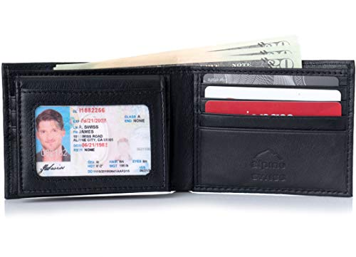 Alpine Swiss RFID Safe Mens Leather Bifold Passcase Wallet 2-in-1 Card Case Black