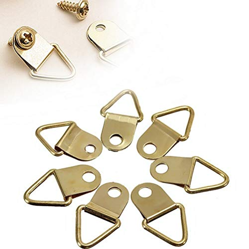 DIVASO Photo Hook - 20 Pcs/lot Golden Brass D-Ring Picture Oil Painting Mirror Frame Wall Mount Hooks Hangers with Screws
