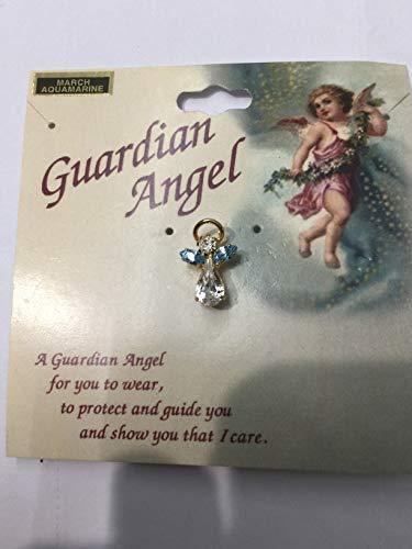 Giftamillion Guardian Angel Birthstone Pin March Aquamarine Austrian Crystal