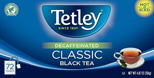 Tetley Tea Decaf (Tetley Naturally Decaffeinated Classic Black Tea, 4.87 oz. Box Containing 72 Tea Bags)