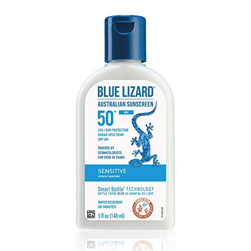 Blue Lizard Sensitive Mineral Sunscreen – No Chemical Actives – SPF 50+ UVA/UVB Protection, 5 Ounce Bottle