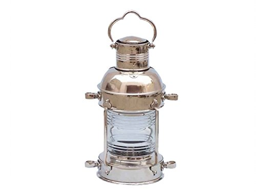 Coastal Christmas Tablescape Décor -  Authentic Marine Ship's Anchor Chrome Oil Lantern by Handcrafted Model Ships