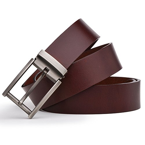 Dycarfell+Men%27s+100%25+Genuine+Leather+Belt+high+quality+cowhide+-+length+is+adjustable+-+Delicate+gift+box+%28120+CM%2C+Brown%29
