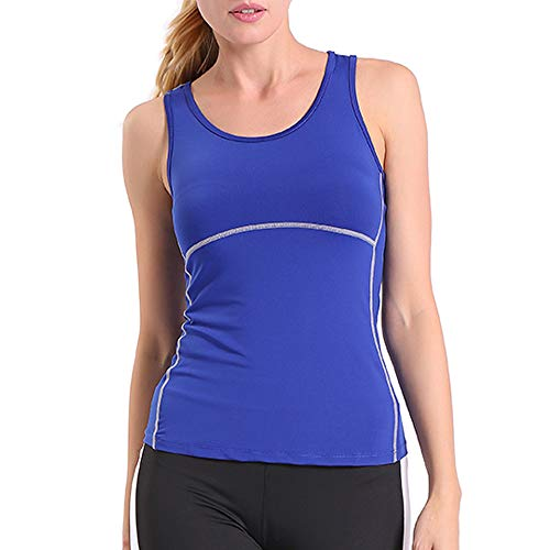 ENIDMIL Women's Compression Shirts Base Layer Dry Fit Tank Top (L, 1 Pack Blue)