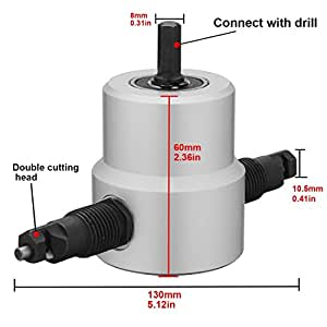 PANOVO PANOVOS Double Head Metal Sheet Nibbler Cutter Drill Attachment Cutter Hole Saw Power Drill Tools