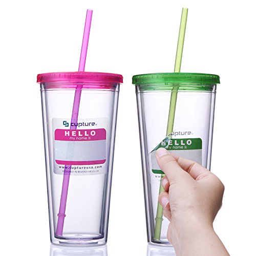- Cupture Classic Insulated Double Wall Tumbler Cup with Lid, Reusable Straw & Hello Name Tags - 24 oz, 2 Pack (green/pink)