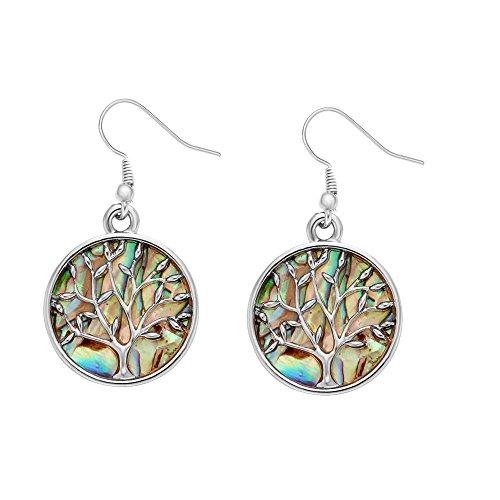 MANZHEN Nature Abalone Paua Shell Tree Charm Dangle Earrings (silver)