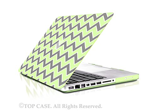 """TopCase Chevron Series Gray Insert Green Ultra Slim Light Weight Rubberized Hard Case Cover for Macbook Pro 15"""" Model: A1286 - NOT for Retina Display - with TopCase Chevron Mouse Pad"""