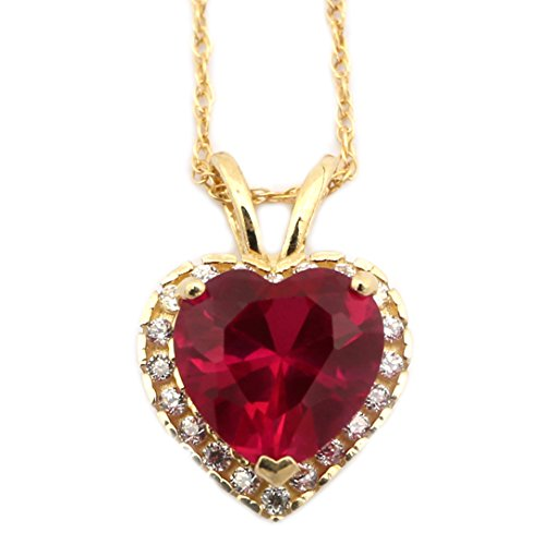 14k Yellow Gold Simulated Birthstone and Cubic Zirconia 9 Millimeters Heart Halo Pendant Necklace