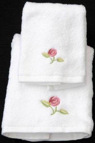 Rose Pink Mackintosh - Face Cloth and Guest Towel in a Rennie Mack Pink Rose Design by Justina Claire