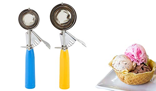 Ice Cream Scooper and Cookie Scooper with Trigger Set - Cookie Batter Scoops for Baking Set - Melon Baller Scoop Set - Stainless Steel Baking Scoop Set with Comfort Grip Handle