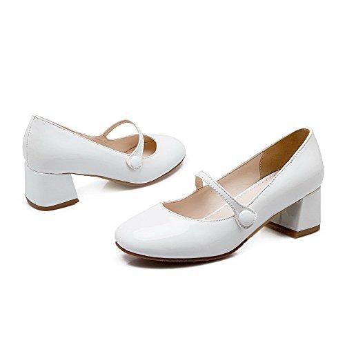 Di Ballerine Pelle Odomolor Puro Donna Medio Bianco Chiusa Maiale Tacco Tirare Punta Quedrata nUn81q