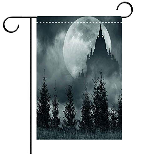 Garden Flag Double Sided Decorative Flags Halloween Magic Castle Silhouette Over Full Moon Night Fantasy Landscape Scary Forest Grey Pale Grey Best for Party Yard and Home Outdoor Decor ()