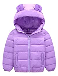 Girls Winter Coat Packable Puffy Padded Outerwear Hooded Jacket 2-7T