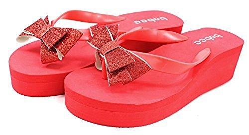 - Bobee Women's Pamela 78 Platform Flip Flop Colored Bow Sandals Beach Red 6