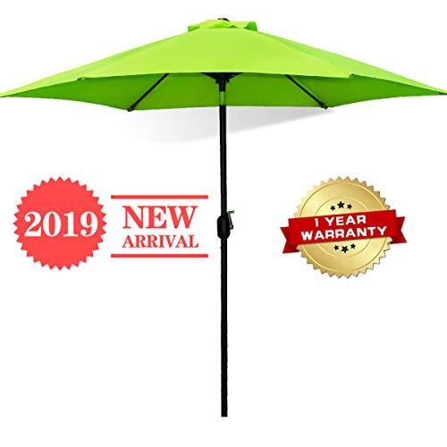 (FRUITEAM 7.5' Patio Umbrella, Outdoor Table Market Umbrella with Easy Push Button Tilt/Crank, 6 Ribs, UPF50+ Thick Polyster Porch Umbrella Lime Green)