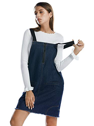 4a74cf8b8ae BARGOOS Women Pinafore Overall Denim Dress A Line Distressed Jeans Skirt  with Pockets