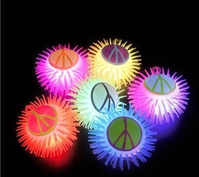 (12) 5'' Light-Up Peace Sign YoYo Puffer Ball ~ GROOVY! by RIN