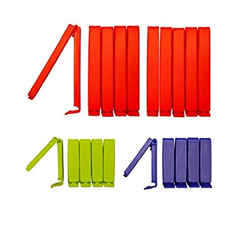 Clip2friend, Set Nr. 4, Mollette per bustine da congelatore, mollette per conservare gli aromi, 20 pezzi, da 6 e 11 cm, rosso, blu e verde labels2friends