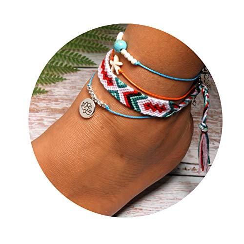 JSTR 4PCs Starfish Lotus Anklet Set Boho Cotton Line Weave Friendship Beach Rope Bracelet for Women Teen Girls Hair Tie Handmade Foot Chain Jewelry (3) ()