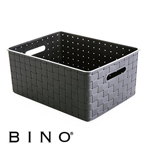 BINO Woven Plastic Storage Basket, Medium (Grey) (Cabinet Baskets Medicine White With Wicker)