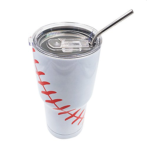 DeanFire 30oz Baseball Tumbler Cups with Lid and Straw, Sports Travel Coffee Mug, Stainless Steel,Vacuum Insulated, Gift for Mom Dad Friend Lovers (White)