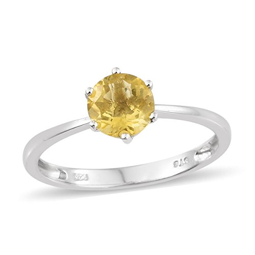 Fluorite Ring Yellow (925 Sterling Silver Platinum Plated 1.2 Cttw Round Yellow Fluorite Solitaire Gift Ring Size 7)