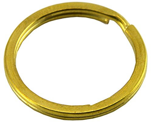 Okones 20mm DIA Leather handmade Factory Flat Split Solid Brass Antique Key Ring Pack of 20 (4/5'' 20mm)