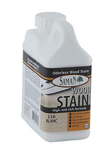 Interior Water Based Wood Stain - SamaN Interior Water Based Stain for Fine Wood, Whitewash, 1 Quart