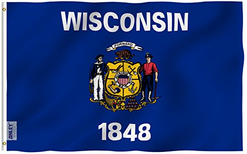 Anley |Fly Breeze| 3x5 Foot Wisconsin State Flag - Vivid Color and UV Fade Resistant - Canvas Header and Double Stitched - Wisconsin WI Flags Polyester with Brass Grommets 3 X 5 Ft
