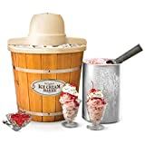 Nostalgia ICMP400WD Electric Wood Bucket Ice Cream Maker, 4-Quart, Brown (Certified Refurbished)