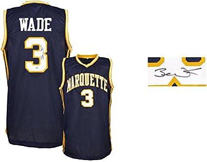sports shoes 63fd7 720ba Dwyane Wade Marquette Golden Eagles Autographed Blue Jersey ...