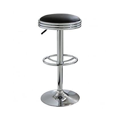 Amazoncom Backless Cushioned Soda Style Swivel Chrome Bar Stool