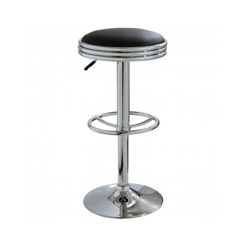 Backless Cushioned Soda Style Swivel Chrome Bar Stool with H