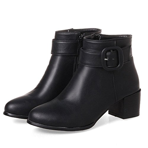 Zip Buckle Inside Boots With Heel Women's Ankle Toe Strap Block Booties Zipper Black Round Mid KingRover Up wpIgqfn